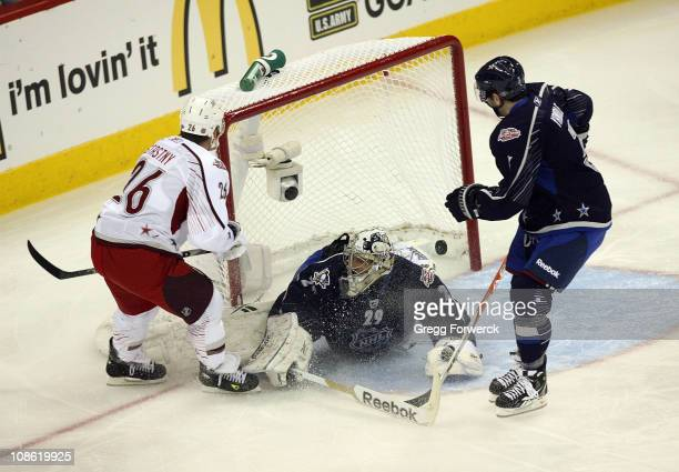 Paul Stastny of the Colorado Avalanche for team Staal scores a first period goal against MarcAndre Fleury of the Pittsburgh Penguins for team...
