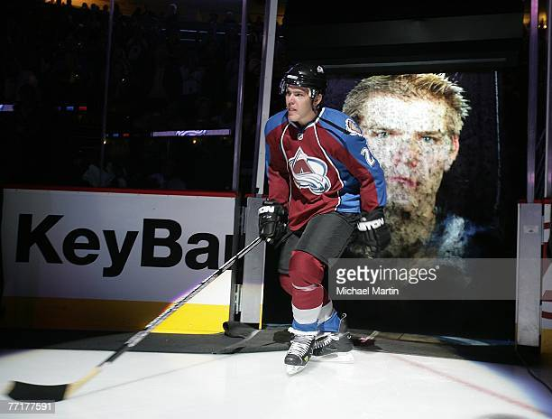 Paul Stastny of the Colorado Avalanche is introduced before their game against the Dallas Stars at the Pepsi Center on October 3, 2007 in Denver,...