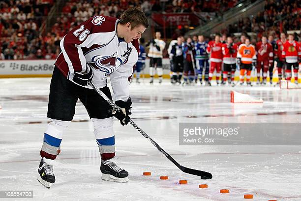 Paul Stastny of the Colorado Avalanche participates in the skills challenge relay during the Honda NHL SuperSkills competition part of 2011 NHL...