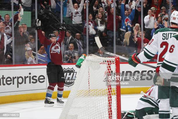 Paul Stastny of the Colorado Avalanche scores the tying goal with seconds remaining the in third period against the Minnesota Wild in Game One of the...
