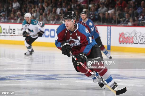 Paul Stastny of the Colorado Avalanche skates against the San Jose Sharks in game Four of the Western Conference Quarterfinals during the 2010 NHL...