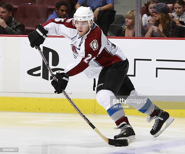 Paul Stastny of the Colorado Avalanche skates up ice with the puck during their game against the Vancouver Canucks at General Motors Place on...
