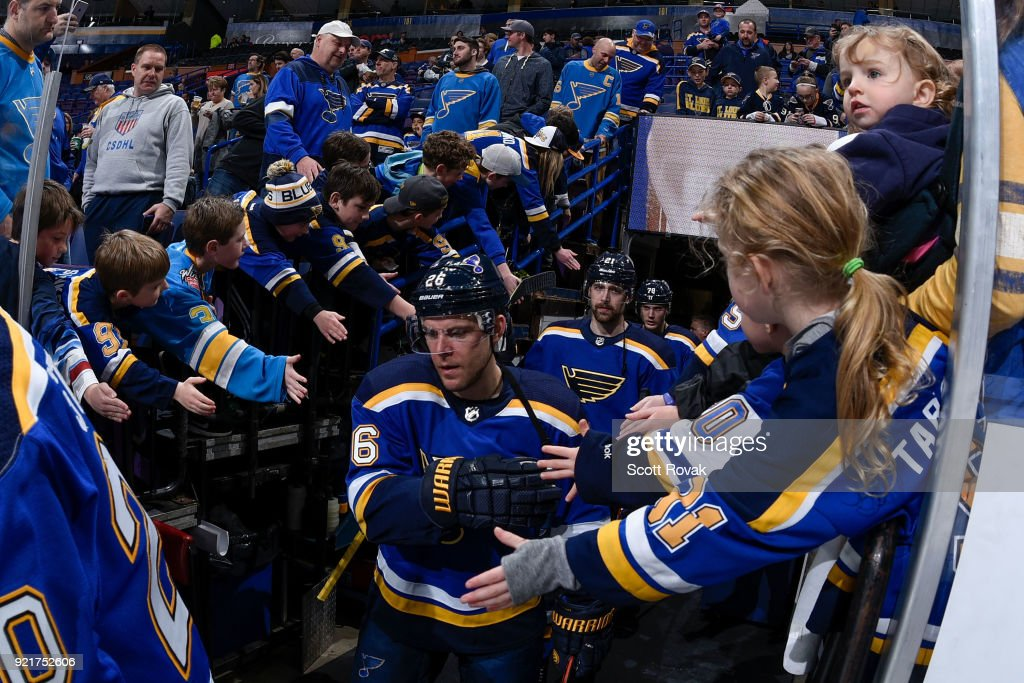 Paul Stastny #26 of the St. Louis Blues and Patrik Berglund #21 of the St. Louis Blues acknowledge the fans before the game against the San Jose Sharks at Scottrade Center on February 20, 2018 in St. Louis, Missouri.