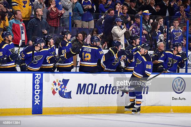 Paul Stastny of the St Louis Blues is congratulated by teammates after scoring the gamewinning goal against the Nashville Predators on November 13...