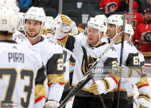 Paul Stastny of the Vegas Golden Knights and teammates celebrate their 53 win over the Calgary Flames on March 8 2020 at the Scotiabank Saddledome in...