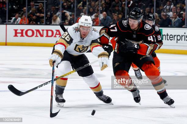Paul Stastny of the Vegas Golden Knights battles for the puck against Hampus Lindholm of the Anaheim Ducks during the game at Honda Center on...