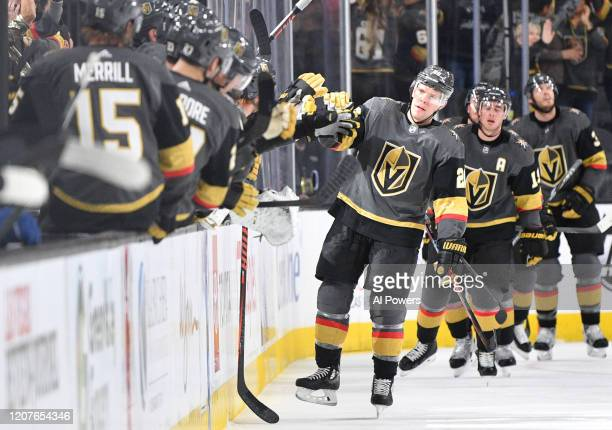 Paul Stastny of the Vegas Golden Knights celebrates after scoring a goal during the second period against the Tampa Bay Lightning at TMobile Arena on...