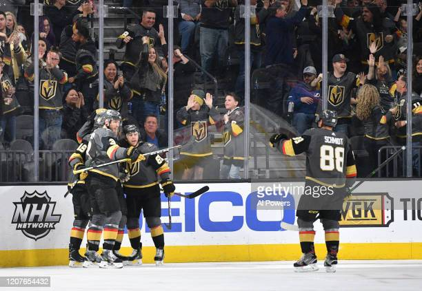 Paul Stastny of the Vegas Golden Knights celebrates with teammates after scoring a goal during the second period against the Tampa Bay Lightning at...