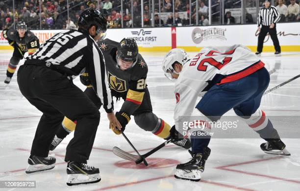 Paul Stastny of the Vegas Golden Knights faces off with Lars Eller of the Washington Capitals during the third period at TMobile Arena on February 17...