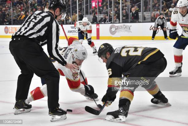 Paul Stastny of the Vegas Golden Knights faces off with Noel Acciari of the Florida Panthers during the second period at TMobile Arena on February 22...