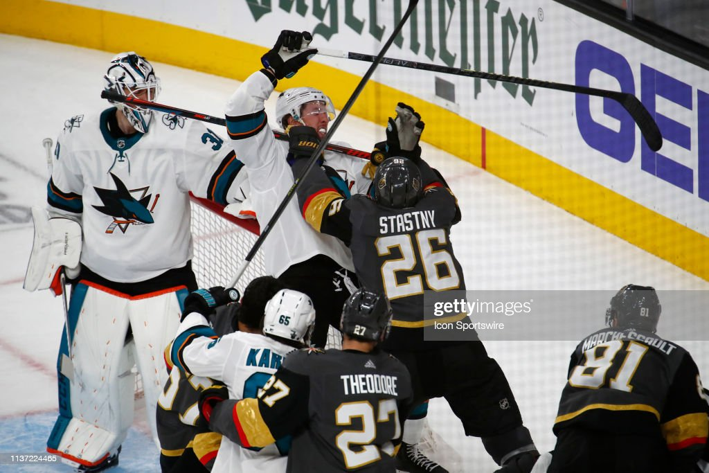NHL: APR 14 Stanley Cup Playoffs First Round - Sharks at Golden Knights : News Photo