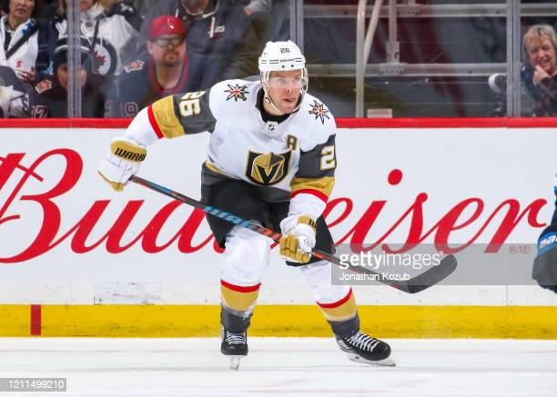 Paul Stastny of the Vegas Golden Knights follows the play down the ice during second period action against the Winnipeg Jets at the Bell MTS Place on...