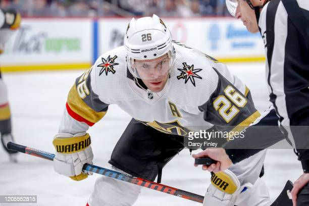 Paul Stastny of the Vegas Golden Knights gets set to take a third period faceoff against the Winnipeg Jets at the Bell MTS Place on March 6 2020 in...