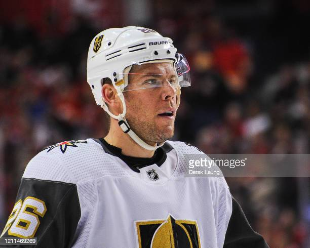 Paul Stastny of the Vegas Golden Knights in action against the Calgary Flames during an NHL game at Scotiabank Saddledome on March 8 2020 in Calgary...