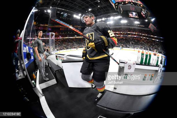 Paul Stastny of the Vegas Golden Knights returns to the locker room after warming up prior to a game against the New Jersey Devils at TMobile Arena...