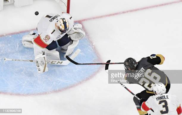 Paul Stastny of the Vegas Golden Knights scores a firstperiod goal against Roberto Luongo of the Florida Panthers during their game at TMobile Arena...