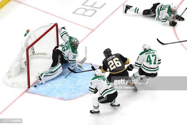 Paul Stastny of the Vegas Golden Knights scores a goal on Anton Khudobin of the Dallas Stars during the second period in Game Two of the Western...