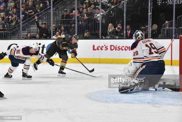 Paul Stastny of the Vegas Golden Knights shoots the puck during the third period against the Edmonton Oilers at TMobile Arena on February 26 2020 in...