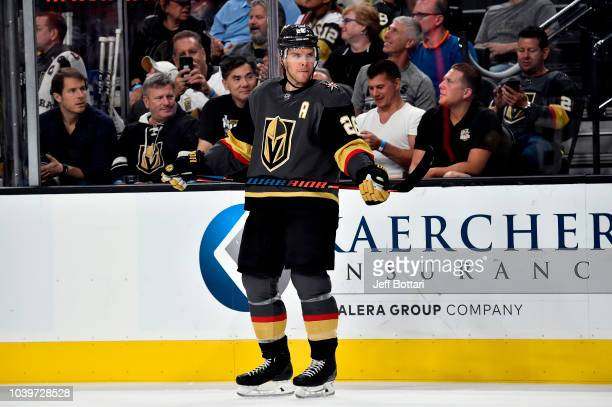 Paul Stastny of the Vegas Golden Knights skates against the Colorado Avalanche during a preseason game at TMobile Arena on September 24 2018 in Las...