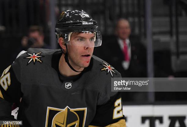 Paul Stastny of the Vegas Golden Knights skates against the Colorado Avalanche after getting a cut on his chin in the second period of their game at...