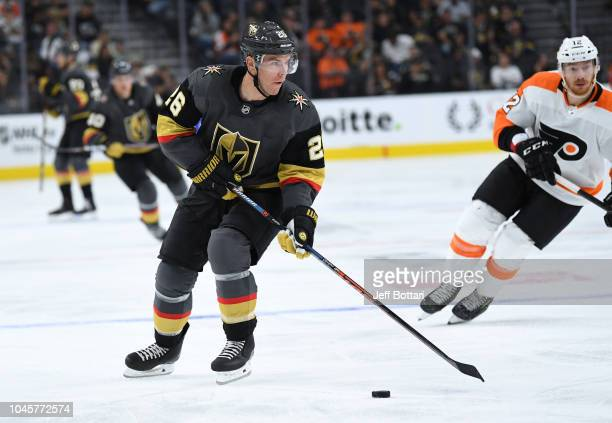 Paul Stastny of the Vegas Golden Knights skates against the Philadelphia Flyers during a game at TMobile Arena on October 4 2018 in Las Vegas Nevada