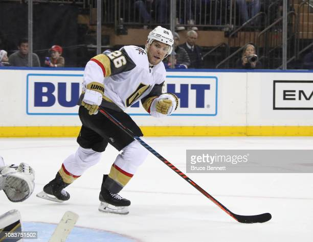 Paul Stastny of the Vegas Golden Knights skates against the New York Rangers at Madison Square Garden on December 16 2018 in New York City The Golden...