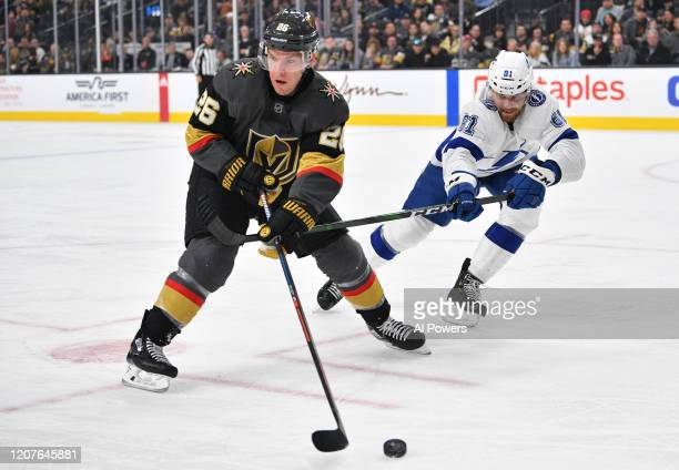Paul Stastny of the Vegas Golden Knights skates during the first period against the Tampa Bay Lightning at TMobile Arena on February 20 2020 in Las...