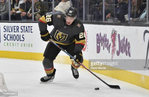 Paul Stastny of the Vegas Golden Knights skates during the first period against the Edmonton Oilers at TMobile Arena on February 26 2020 in Las Vegas...