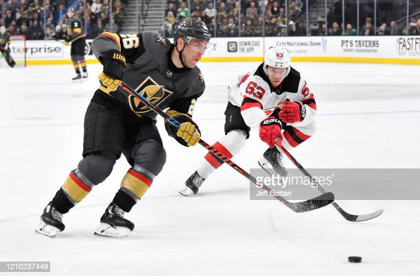 Paul Stastny of the Vegas Golden Knights skates during the first period against the New Jersey Devils at TMobile Arena on March 03 2020 in Las Vegas...