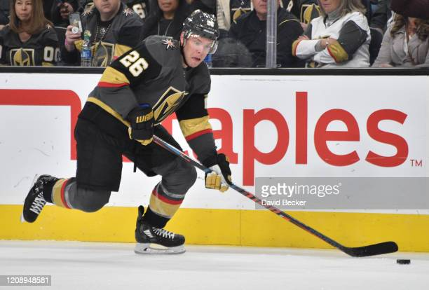 Paul Stastny of the Vegas Golden Knights skates during the third period against the Edmonton Oilers at TMobile Arena on February 26 2020 in Las Vegas...