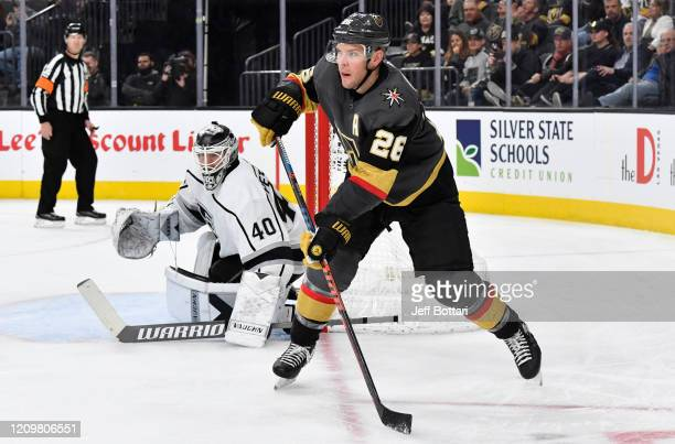 Paul Stastny of the Vegas Golden Knights skates during the third period against the Los Angeles Kings at TMobile Arena on March 01 2020 in Las Vegas...