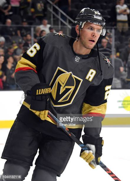 Paul Stastny of the Vegas Golden Knights skates during warmups before a preseason game against the Colorado Avalanche at TMobile Arena on September...
