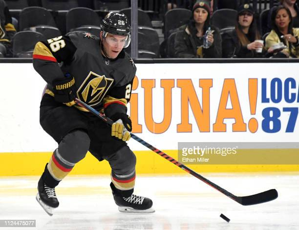 Paul Stastny of the Vegas Golden Knights skates with the puck against the Nashville Predators in the second period of their game at TMobile Arena on...