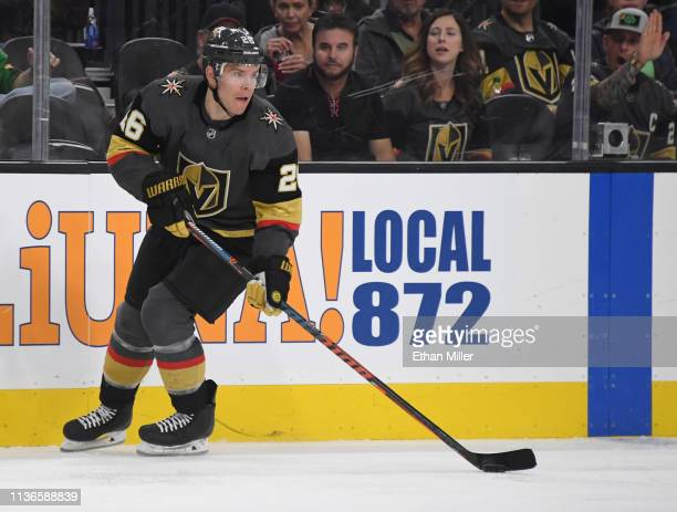 Paul Stastny of the Vegas Golden Knights skates with the puck against the Edmonton Oilers in the second period of their game at TMobile Arena on...