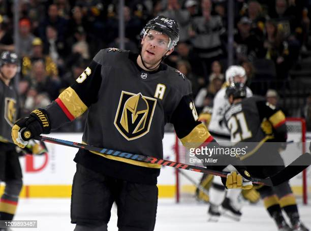 Paul Stastny of the Vegas Golden Knights takes a break during a stop in play in the second period of a game against the Los Angeles Kings at TMobile...