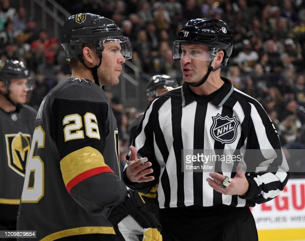 Paul Stastny of the Vegas Golden Knights talks with linesman Mark Shewchyk in the first period of the Golden Knights' game against the Los Angeles...