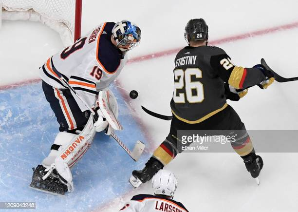 Paul Stastny of the Vegas Golden Knights tries to shoot a rebound past Mikko Koskinen of the Edmonton Oilers in the third period of their game at...
