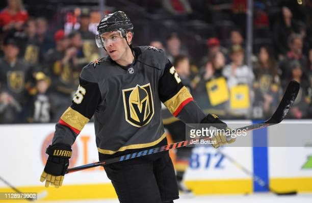 Paul Stastny of the Vegas Golden Knights warms up prior to a game against the Calgary Flames at TMobile Arena on March 6 2019 in Las Vegas Nevada