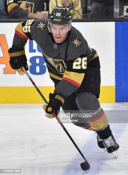 Paul Stastny of the Vegas Golden Knights warms up prior to a game against the Florida Panthers at TMobile Arena on February 22 2020 in Las Vegas...