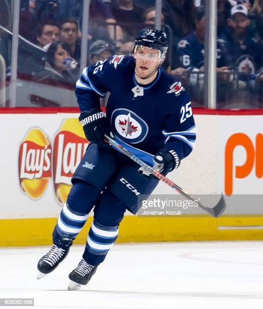Paul Stastny of the Winnipeg Jets follows the play down the ice during first period action against the Chicago Blackhawks at the Bell MTS Place on...