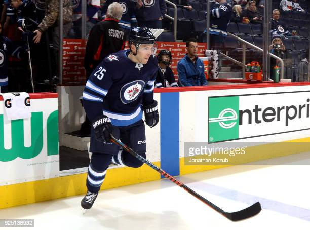 Paul Stastny of the Winnipeg Jets hits the ice for the start of the pregame warm up prior to NHL action against the Nashville Predators at the Bell...