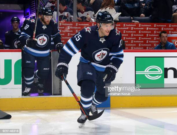 Paul Stastny of the Winnipeg Jets hits the ice prior to puck drop against the Nashville Predators at the Bell MTS Place on February 27 2018 in...