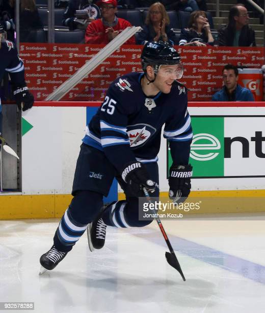 Paul Stastny of the Winnipeg Jets hits the ice prior to puck drop against the Chicago Blackhawks at the Bell MTS Place on March 15 2018 in Winnipeg...