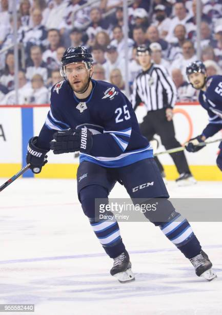 Paul Stastny of the Winnipeg Jets keeps an eye on the play during first period action against the Nashville Predators in Game Four of the Western...