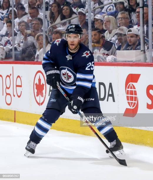 Paul Stastny of the Winnipeg Jets keeps an eye on the play during third period action against the Nashville Predators in Game Four of the Western...