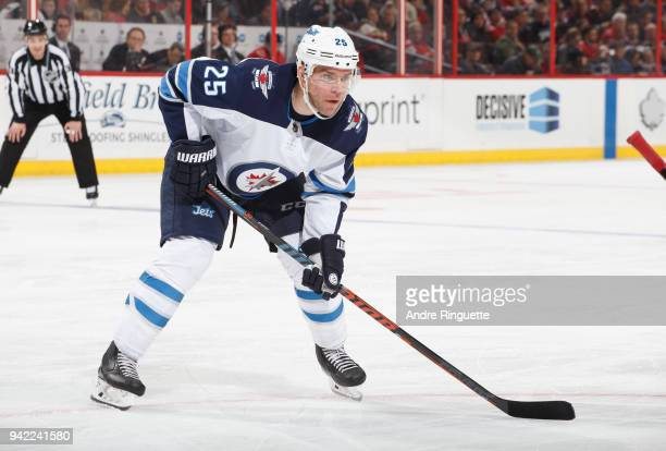 Paul Stastny of the Winnipeg Jets skates against the Ottawa Senators at Canadian Tire Centre on April 2 2018 in Ottawa Ontario Canada