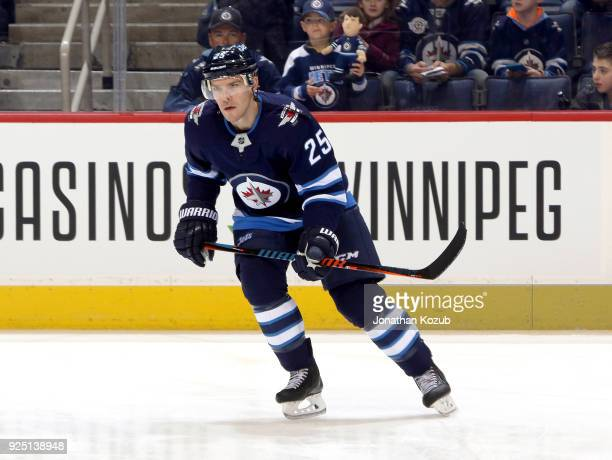 Paul Stastny of the Winnipeg Jets takes part in the pregame warm up prior to NHL action against the Nashville Predators at the Bell MTS Place on...
