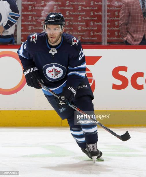 Paul Stastny of the Winnipeg Jets takes part in the pregame warm up prior to NHL action against the Nashville Predators in Game Three of the Western...