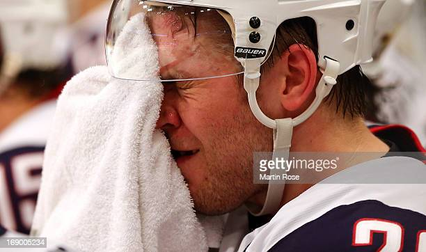 Paul Stastny of USA reacts during the IIHF World Championship semifinal match between Swiss and USA at Globen Arena on May 18 2013 in Stockholm Sweden