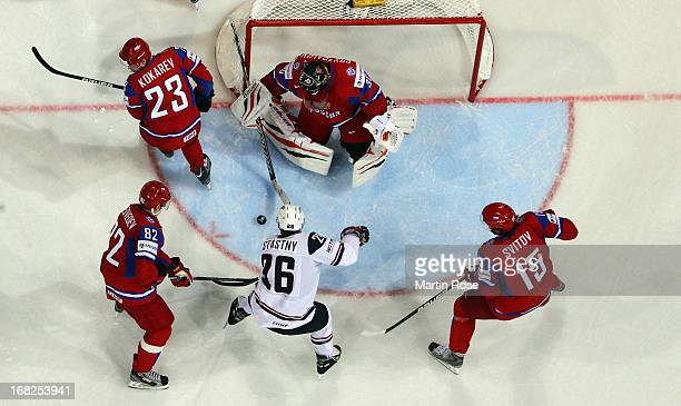 Paul Stastny of USA scores his team's 1st goal during the IIHF World Championship group H match between Russia and USA at Hartwall Areena on May 7...
